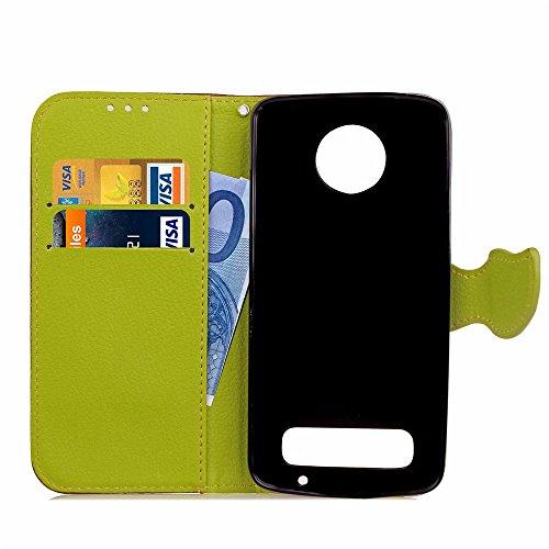 EKINHUI Case Cover Mix und Match Color Leaf Magnetic Buckle PU Ledertasche Brieftasche Stand Pouch Cover mit Lanyard für Motorola Moto Z2 Play ( Color : Red ) Brown