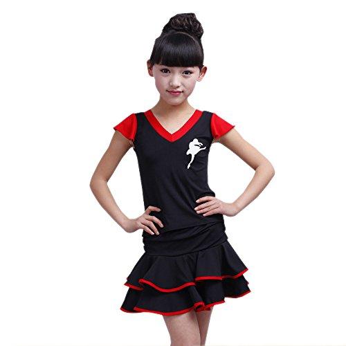 der Tanz Kleidung Oberteile + Doppel Saum Rock Set Latein Tanz Performances Wettbewerb Kostüm, Rot/120 (Tanz Wettbewerb Jazz Kostüme)