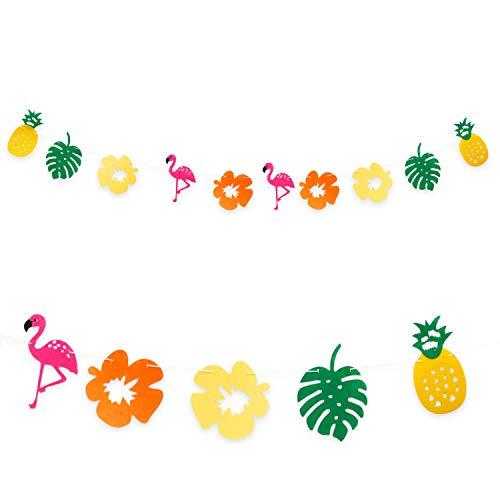 aii Girlande mit Flamingos Ananas Blumen Blätter - 2m - Deko aus Filz in Gelb Grün Orange Pink - für Motto Strand Party Garten Feier Sonne Sommer Spaß ()