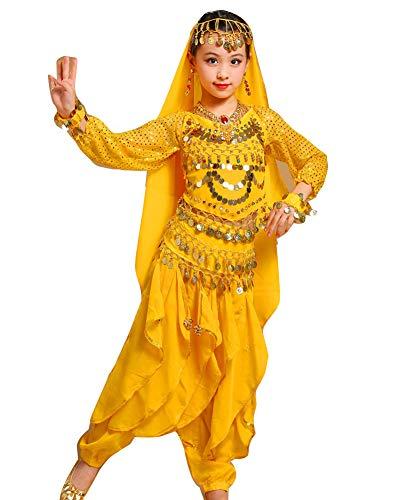 Billig Kostüm Indische - Guiran Kinder Mädchens Damen Faschings-Kostüm Indische Bauchtänzerin Kostüme Gelb Adult Höhengeeignet 150-175CM
