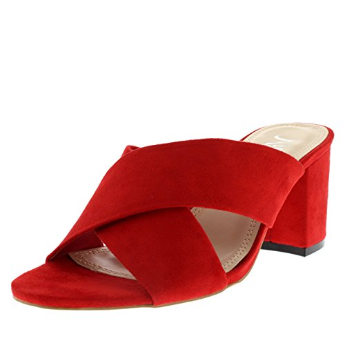 f17c82f526d138 Womens Cross Strap Mules Block Heel Open Toe Fashion Cut Out Sandal Heel -  Red -