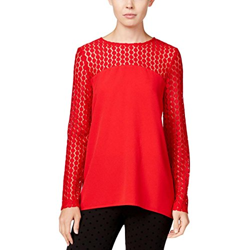 kensie Womens Crepe Lace Inset Pullover Top Red S -