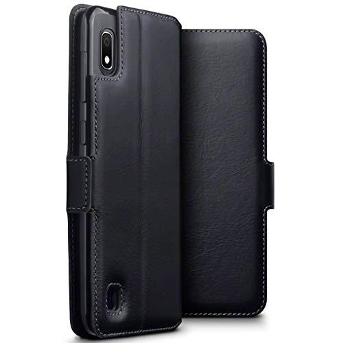 TERRAPIN, Kompatibel mit Samsung Galaxy A10 Hülle, Premium ECHT Spaltleder Flip Handyhülle Samsung Galaxy A10 Hülle Tasche Schutzhülle, Schwarz