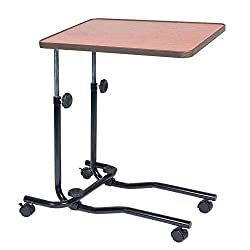 NRS Healthcare M15691 mobiler Betttisch mit Rollen - Höhenverstellbar, neigbare Tischplatte