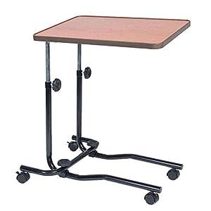 NRS Healthcare M15691 mobiler Betttisch mit Rollen – Höhenverstellbar, neigbare Tischplatte