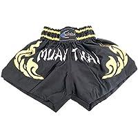 Extiff Muay Thai - Pantalones cortos de boxeo tailandés para artes marciales (negro/dorado, XL)