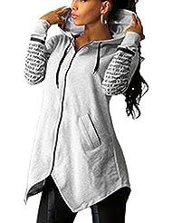 Minetom Mujeres Impresión Otoño Sudadera con Capucha de Mangas Largas Con el Estilo de Cremallera Ocasional Blusa