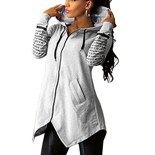 Minetom Femmes Sport Hoodie Zip Manteau Sweatshirts Hooded Lettres Impression Glissière Pullover Top Gris
