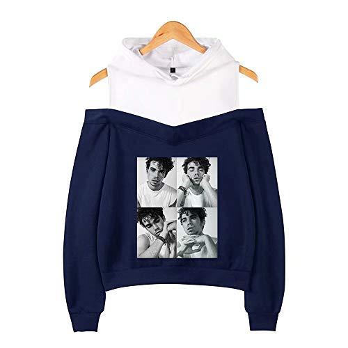 Cameron-damen T-shirt (JiangJie Kawaii Cameron Boyce Schulterfreies Hoodies-Sweatshirt Coole Frauen Mode Hüfte Sweatshirts Lose Pullover Streetwear Hoodies)
