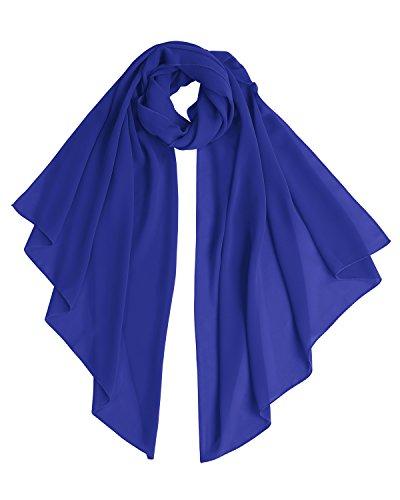 Bridesmay Chiffon Stola Schal für Hochzeit in verschiedenen Farben Royal Blue L 200cm*75cm
