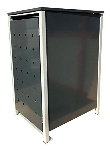 BBT@ | Hochwertige Mülltonnenbox für 4 Tonnen je 240 Liter mit Klappdeckel in Grau / Aus stabilem pulver-beschichtetem Metall / Stanzung 3 / In verschiedenen Farben sowie mit unterschiedlichen Blech-Stanzungen erhältlich / Mülltonnenverkleidung Müllboxen Müllcontainer - 4
