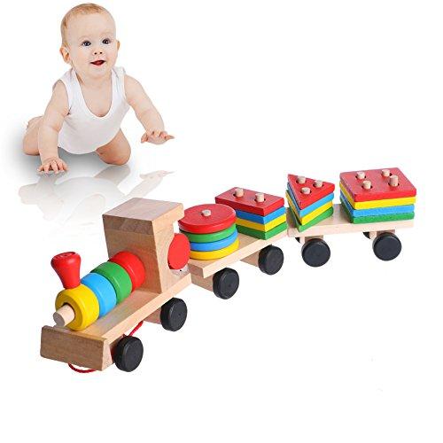 Haven shop Stapelzug für Kinder, Baby Entwicklungsspielzeug aus Holz, Zug, LKW, geometrische Blöcke, Lernspielzeug, Weihnachten, Neujahrsgeschenk