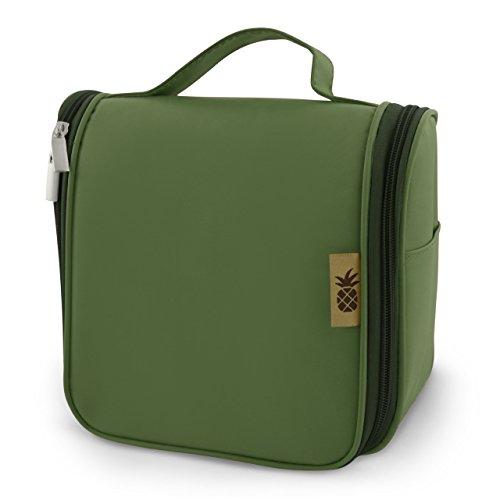 Pinacolor - Neceser / Bolsa de Aseo para Colgar para Productos Cosméticos y Maquillaje para Hombre y Mujer / + 1L Neceser Transparente de Viaje (8 botellas de viaje) + Gancho para Puerta | Verde