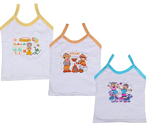Indistar Girls Pure Cotton Cartoon Print Slips/Vests (Pack of 3)_Multiple_4-6 Years