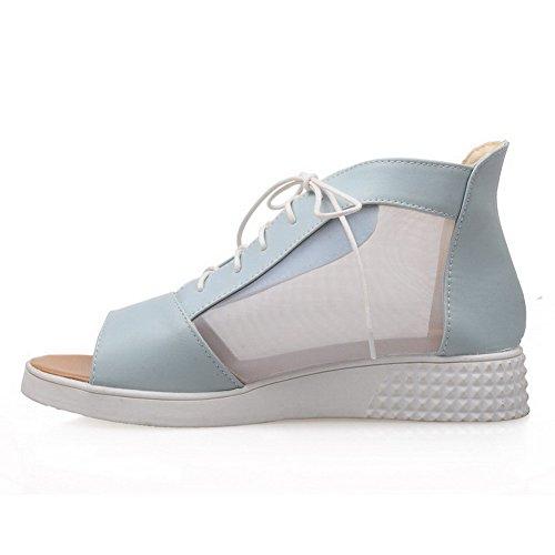 VogueZone009 Donna Allacciare Finta Pelle Scamosciata Tacco Alto Punta Aperta Heeled-Sandals, Rosso, 37