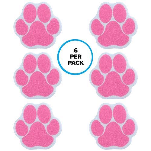 SlipX Solutions Selbstklebende Wannenauflagen mit Pfotendruck verleihen Wannen, Duschen, Pools, Booten, Treppen & mehr (6 Stück, zuverlässiger Halt, rosa) Rutschfeste Traktion. Animal Print Sticker