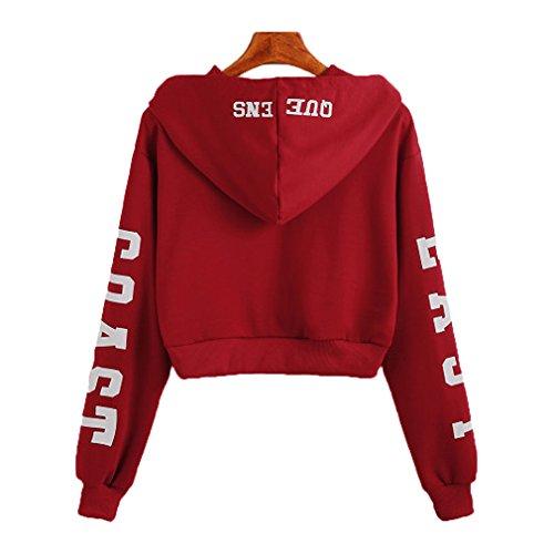 Fur Story 17A18 Femme Short Hoodies Casual Slim Pullover Vin Rouge