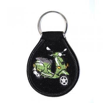 Preisvergleich Produktbild Schlüsselanhänger aus Stoff mit Einstickung - Mofa - Gr. ca. 6,5x5cm - 02371 - Keyholder