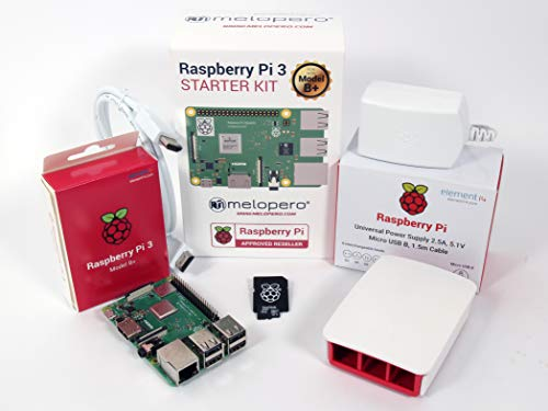 Melopero Raspberry Pi 3 Model B+ Official Starter Kit White con 16GB microSD (con Raspbian)