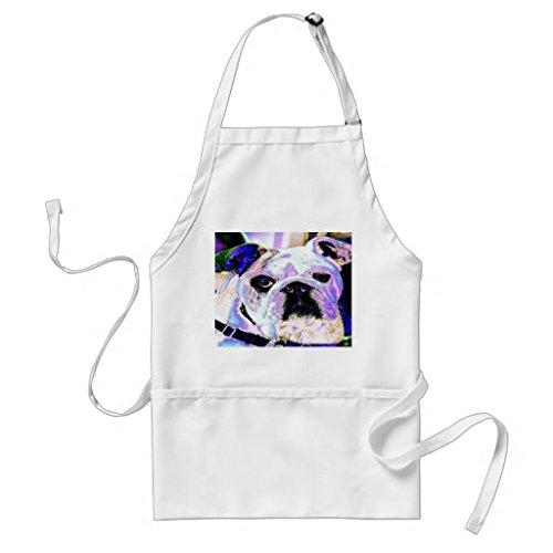 Tablier de cuisine pour femme – English Bulldog Pop Art Motif tabliers pour filles cou réglable Attaches de tour de taille Tablier de cuisine pour homme