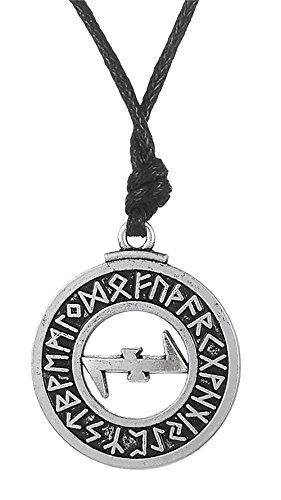 Dawapara Pagan Wolfangle Schutz-Symbol Elder Futhark Runen Anhänger Halskette Wikinger Schmuck