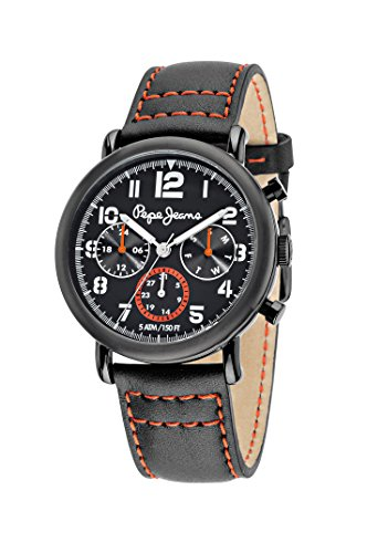 Pepe Jeans Steve Hombre Reloj de cuarzo con Esfera Analógica Gris y Correa de Acero Inoxidable Bañado en Negro R2351108003