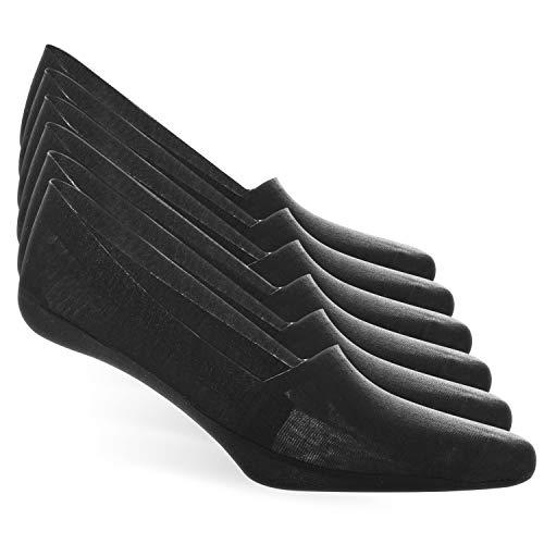 Mococito calzini invisibili da uomo, calzini per mocassini invisibili anti-scivolamento e anti-buco, design casual, fantasmino, cotone, nero, taglia 43-46, 6 paia