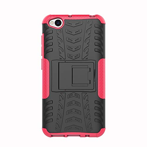 Azihone Xiaomi Redmi Go Funda,360 Grados Protección A Prueba de Choques Cubierta 2in1 TPC Carcasa Skin Case Cover Compatible Xiaomi Redmi Go - Rosa roja + Protector de Pantalla