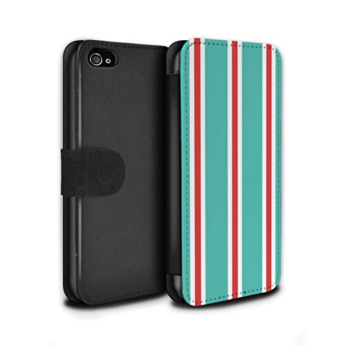 Stuff4 Coque/Etui/Housse Cuir PU Case/Cover pour Apple iPhone 4/4S / Plage Bande Design / Mode Bord Mer Collection Sarcelle/Rouge Bande