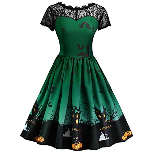 (Qiusa Frauen Kleid, Halloween Damen Sexy Vintage Lace Kurzarm Retro A Line Pumpkin Swing Dress (Farbe : Grün, Größe : Medium))