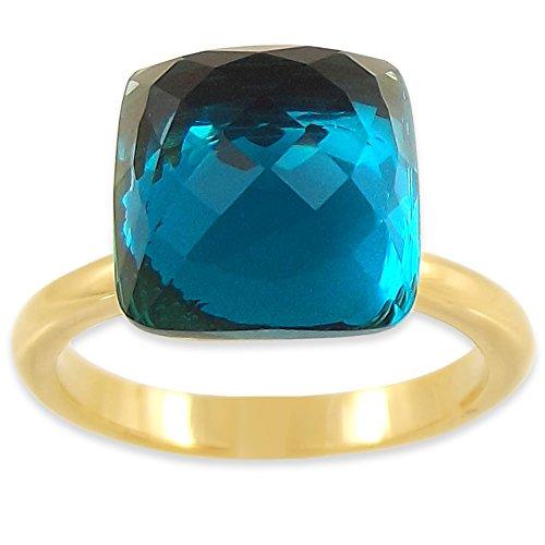 nobel-schmuck Ring Gr. 59 Kristall von Swarovski® Blau Gold