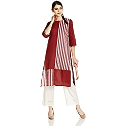 Myx Women's Cotton Straight Kurta (AW17ST1WROP03B_Maroon_X-Large)
