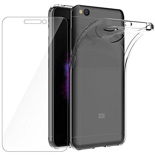 Cover Redmi 4X Custodia + Pellicola Protettiva in Vetro Temperato , Leathlux Morbido Trasparente Silicone Custodie Protettivo TPU Gel Sottile Cover per Xiaomi Redmi 4X 5.0'