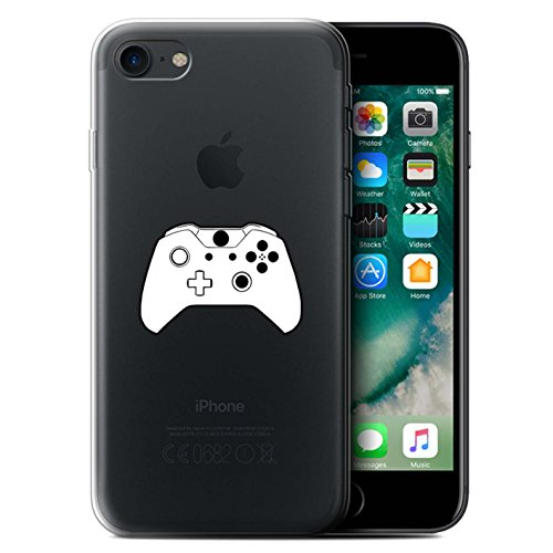 Coque Gel TPU de STUFF4 / Coque pour Apple iPhone 7 / NES Noir Design / Manette Jeux Vidéo Collection Xbox One Blanc