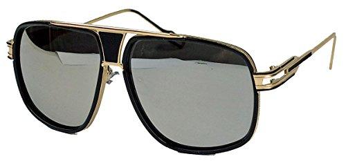 Blogger Fashion Sonnenbrille Square Aviator Pilotenbrille mit Metallsteg TB (Silber verspiegelt)