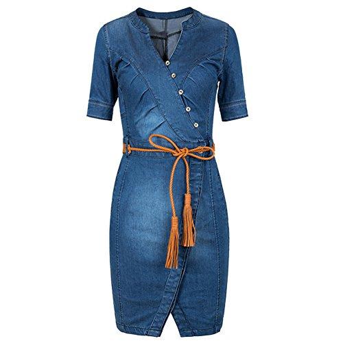 Scothen Damen Jeans Skirt Frauen Langarm Slim Denim Jeans Party Minikleid Jeans Bluse Frühling Sommer Elegant Bodycon Jeanskleid Knopf Knielang...