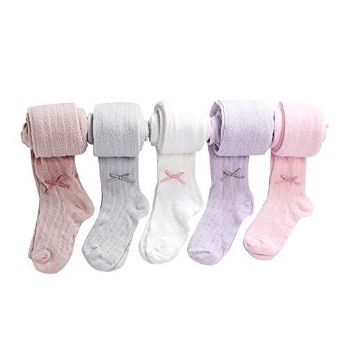 RADIANCY Frauen Kinder Anti-Moskito Socken Strumpfhosen Mesh Side Bow Dance Anti-Hook Leggings Gekämmte Baumwolle 5 Artikel,L - Bow Strumpfhose
