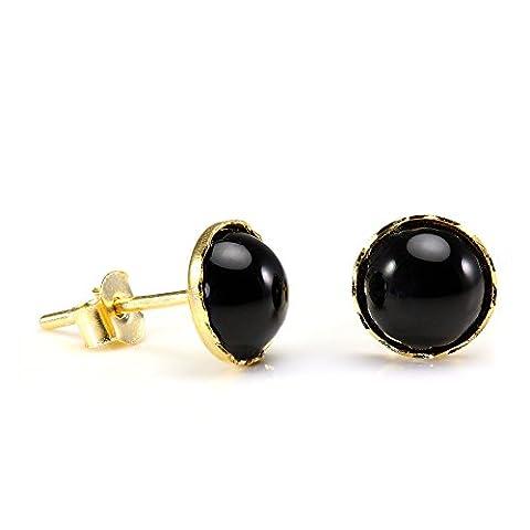 9ct Gold & Onyx 6mm Round Gemstone Stud Earrings