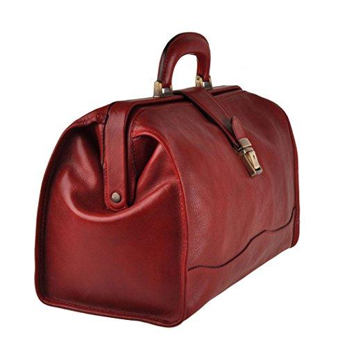 Pellevera Torino sac de médecin de poche en cuir italien (marron) rouge