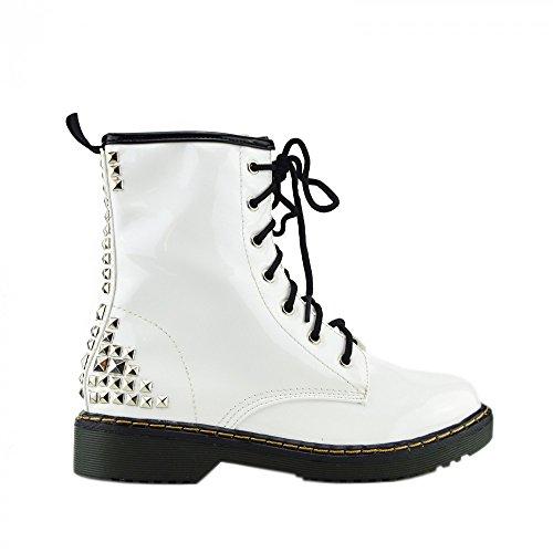 Kick Chaussures de combat rétro pour femme Cheville en dentelle pour femme Style gothique Motif martin Bottines Weißes Quadrat-Stollen L-12084