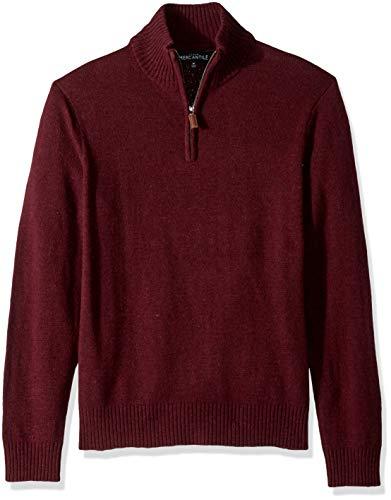 J.Crew Mercantile Herren Lambswool-Nylon Half Zip Sweater Pullover, Heather Cabernet, Klein -