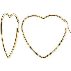 UM joyería Acero inoxidable Mujer Amor Corazón Grande Aros Pendientes Oro Tono