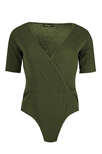 Damen Einfarbig Gerippt Gefüttert Shorts Flügelärmel Front Wickel V Ausschnitt Fit Body Oberteil UK Größen 8-14 Khaki