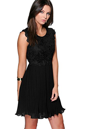 YourPrimeOutlet Womens Boutique Elizabeth Corded Lace Pleated Skater Dress