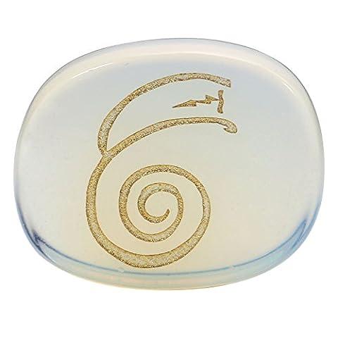 JOVIVI Edelstein DAI KO MYO Graviert Reiki Symbol Healing Stein Deko Feng Shui Figur Ornamente Dekoration Glücksbringer (Opalite)