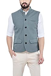 Owncraft Mens Dull Grey Wool Nehru Jacket 5
