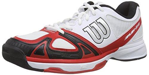 Wilson RUSH EVO, Scarpe da Tennis Uomo, Multicolore (WHITE/WILSON RED WILSON/BLACK), 44 EU