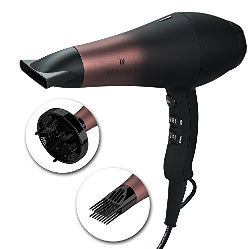 Wazor Professional AC Hair Dryer 1800W Far Infrared Hairdryer Ionic Blow Dryer with 3 Blow Dry Attachments UK Plug 2.65M Cord