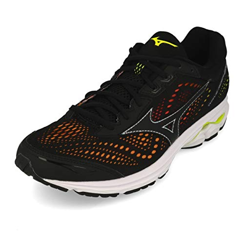 Mizuno Herren Wave Rider 22 Osaka Sneakers, Mehrfarbig Black/Safety Yellow 001, 42 EU