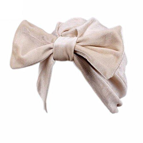 Saingace Frauen Bogen Krebs Chemo Hut Beanie Schal Turban Kopf Wrap Cap (Beige)
